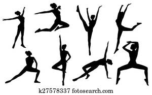 Silhouette Poses, Woman Aerobics Fitness on White Background, Set of People Figures Exercise, Sport Gymnastics Training
