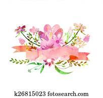 watercolor flowers, Cute floral