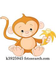 Baby Monkey eating banana