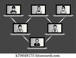 Computer Network and Virtual Meeting Technology Concept