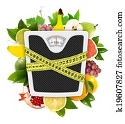 Measuring tape diet concept