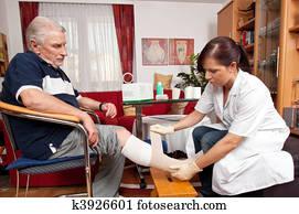 wundversorgung, per, krankenschwestern