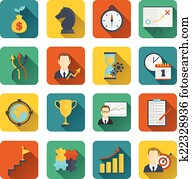 Business strategy planning icon flat