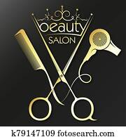 Golden scissors comb and hairdryer for a beauty salon