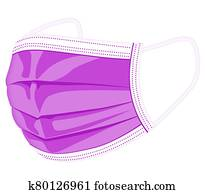 medical mask, disposable face mask, doctor mask in purple illustration graphic. from the left side