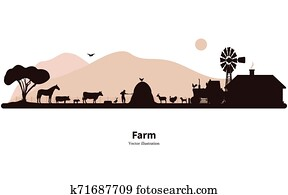 Silhouette farming and animal husbandry