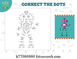 verbinden punkte, kinder, mini, spiel, vektor, illustration., t