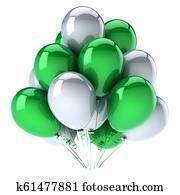 green white helium balloons bunch