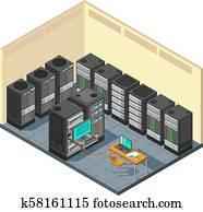 isometrisch, netz- bediener, zimmer, mit, reihe, von, edv, equipments