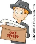 Kid Boy Agent Top Secret Envelope Illustration