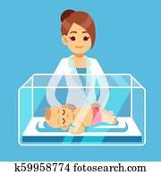 Pediatrician doctor and little newborn baby inside incubator box in hospital. Neonatal, prematurity, child care medical vector concept