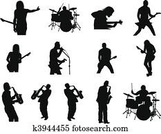 satz, von, gestein, und, jazz, silhouetten