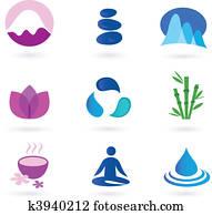 wellness,, entspannung, und, joga, symbol