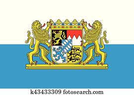 bayernfahne, mit, wappen, Germany., vektor, format