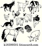 black white set with farm animals