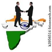 Business people shaking hands on India map flag illustration