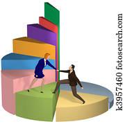 Business woman helping hand businessman up pie chart