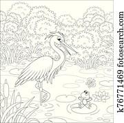 Heron and Frog on a lake