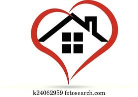 House and heart vector logo