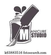 Manicure studio bottle with brush and paint splashes
