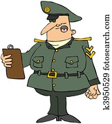 Military Man With A Clipboard