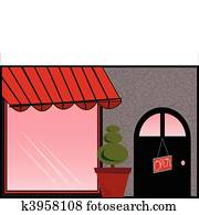 Store Front with Red Awning