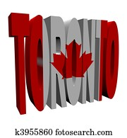 Toronto 3d text with Canadian flag on white illustration
