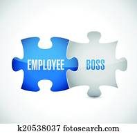 employee boss puzzle pieces illustration design