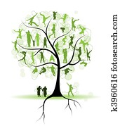 familie, tree,, relatives,, leute, silhouetten