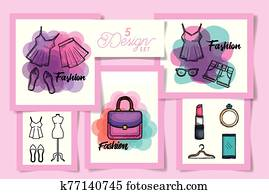 Five designs of female fashion cloth