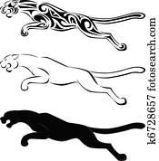 Jaguar tattoo art and silhouette