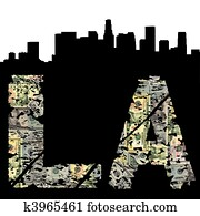Los Angeles grunge dollar with skyline