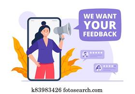 A girl with a loudspeaker asks customers to leave a review. Evaluating app, product, service. Feedback consumer, a customer review. Trendy vector flat illustration.