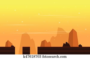 Game background with cliff scenery