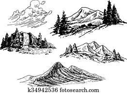 hand-drawn, berg, abbildungen