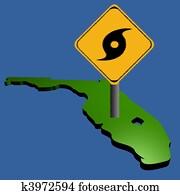 hurricane sign on Florida map