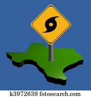 hurricane sign on Texas map