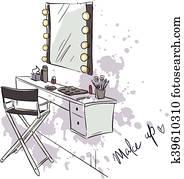 Make up. Vanity table