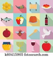 Rosh Hashanah jewish holiday icons set, flat style
