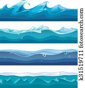 Seamless ocean, sea, water waves vector backgrounds set for ui game in cartoon design style