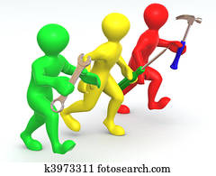 Three man with tools. Maintenance