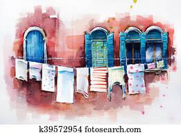Venetian windows. Watercolor.