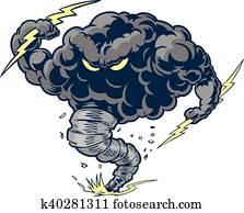 Angry Tornado Thunder Cloud Mascot