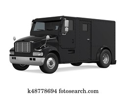 Black Armored Truck Isolated