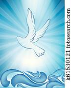 Christian baptism invitation - baptism greeting card with dove and waves of water on blue background