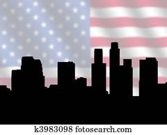Los Angeles skyline with Flag