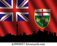 Toronto skyline Ontario flag
