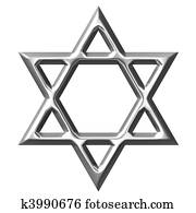 3D Silver Star of David