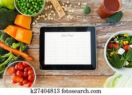 Grand plan, de, régime alimentaire, sur, tablette pc, et, légumes