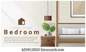 Interior design with Modern bedroom background 2